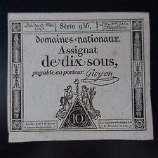 LOI DU 23 MAI 1793 DOMAINES NATIONAUX ASSIGNAT DE DIX SOUS SÉRIE 956