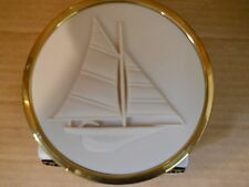 Party Lite Sailboat Bisque & Brass Refillable 3-Wick Candle HTF,  New! P2056