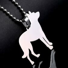 Cropped Ear Stainless Steel Beauceron Beauce French Shepherd Dog Pendant + Chain