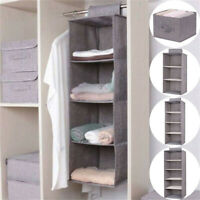 5 Gril Hanging Shelf Closet Organizer Cloth Storage Wardrobe Rack Hanger Shelves