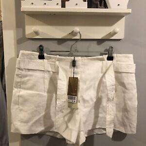 Next White Linen Cargo Chino Shorts With Belt Petite Summer Shorts Size 14 BNWT