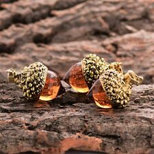 Glass Amber Acorn Pendant  Necklace Antique Gold plated Long Statement, Autumn