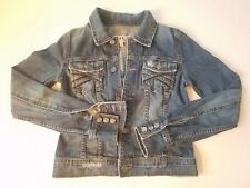 Womans Juicy Couture P Petite Denim Jean Button Jacket Distressed Windbreaker