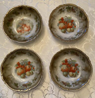 4 Antique PK Salesia Bone China Berry Bowls 1914-18 Gold Beaded Rim