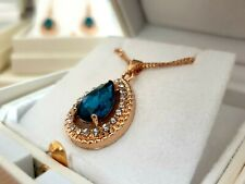 Yellow gold finish pearcut turquoise created diamond necklace valentines gift