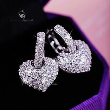 18k white gold gf made with SWAROVSKI crystal heart 3D stud earrings 925 silver