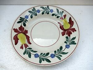 "Ceranor Pottery Antique Plate Porcelain Hand Painted Floral Stamped Spongeware""F"