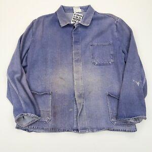 VINTAGE French EU Worker CHORE Work Shirt Jacket Worn Faded SZ XXL (G489)