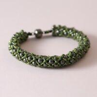 Seed Beaded Bead Green Hand Woven Artisan Bracelet
