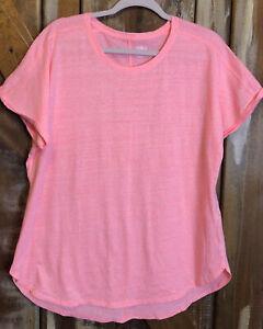 Womens Athletic Top Neon Pink Short Sleeve Round Neck Sz XL Round Hem