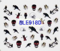 Halloween Glitter Black Crow Gold Spiders B&W Skulls 3D Nail Art Stickers Decals