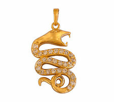 Gorgeous Gold Plated White Austrian Crystals Cobra Snake Pendant With Gold Chain