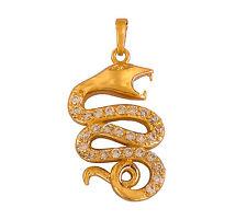 Splendido Placcato Oro Bianco Cristalli Austriaci Serpente Cobra Ciondolo Con