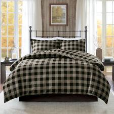 Cozy 100% Cotton Flannel Cabin Tan Bk Red 3 pc Checker Duvet Cal King Queen Set