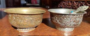 Pair of 19th century Chinese Tibetan bronze bowls & spoon