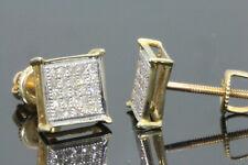 10K YELLOW GOLD .20 CARAT MENS WOMENS 6 mm 100% GENUINE DIAMONDS EARRING STUDS