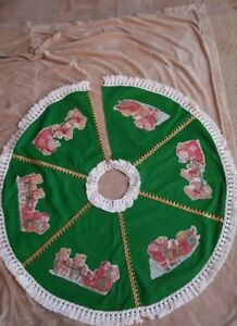 Christmas Tree Skirt, Green Flannel with Santa & Sleigh Appliques