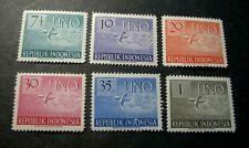 Indonesia Stamp Scott# 362-367 Doves in Flight 1951  MH L270