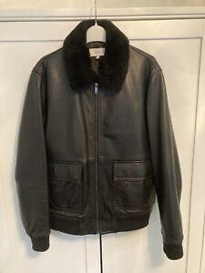 reiss mens leather jacket, Bomber , Fur Collar , Medium , Black , Cool , Reiss