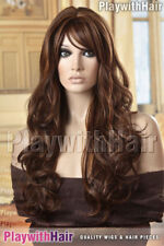 HUMAN HAIR BLEND Long Cascading Wig 3Tone Brown Blonde
