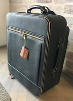 6,200$ Loro Piana Blue Deer Leather Wheeled Carry On Suitcase Made in Italy