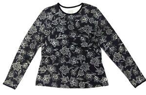Women's Rash Guard Long Sleeve Swim Shirts UV Protection Black & White Hang Ten