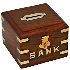 3.5 Inch Handmade Safe Money Box Wooden Piggy Bank Gift For Kids Adults Decor