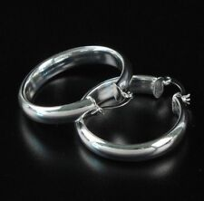 "NEW Women's Fashion Jewelry 925 Silver Plated 1.18"" Solid Thick Hoop Earrings"