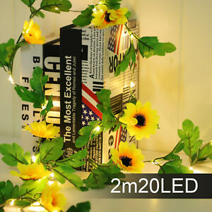 2M LED String Light Artificial Sunflower Fairy Lights Home Garland Party Decor