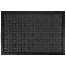 Rubber Welcome Door Entrance Mat Indoor Outdoor Non Slip Absorbent Flat Rug Check Grey 14436
