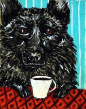 Schipperke dog coffee art reproduction of painting 11x14 Jschmetz gift