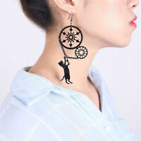 Creative Funny Steampunk Cat Acrylic Earrings Drop Alloy Vintage Jewelry Gift