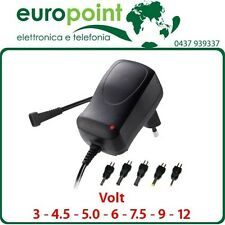 Alimentatore regolabile trasformatore switching 3 4,5 5 6 7,5 9 12Volt 1000mA 1A