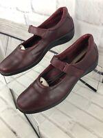 Ecco Women's Burgundy Mary Jane Strap Wedge Heels Shoes Sz 11 - 11.5