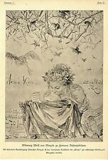Adolf dedica di menzels a Fontanes poeta Giubileo ARTE-GIOIELLI foglio v.1899