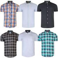 Mens Cotton Short Sleeve Shirt Checked Summer Pinstripe Print Top RRP £25 S-XXL