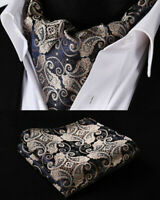 NEW Gold Navy Blue Paisley Silk Cravat Brown Scarf Ascot Tie FREE Hanky