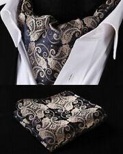 NEW Gold Navy Blue Paisley Silk Cravat Brown Scarf Ascot Tie FREE Hanky