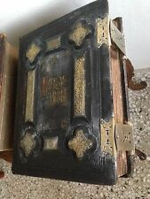 Antique Family Bible- Geneva Style 1860 Holy Bible (new Photos)
