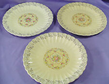 "Set/3 Vintage Aristocrat Imperial Ware 10"" Ribbed Plates 22K Gold Toledo Delight"