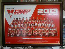 Sydney Swans AFL 2013 Official poster Framed Fully Glassed