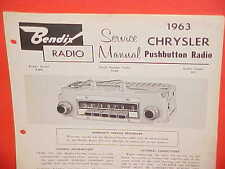 1963 CHRYSLER NEW YORKER NEWPORT 300J CONVERTIBLE BENDIX AM RADIO SERVICE MANUAL
