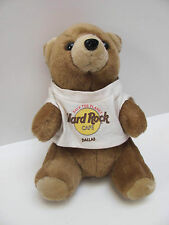 "Brown Hard Rock Café Dallas 8"" Bear with White T Shirt & Yellow & Red Design"