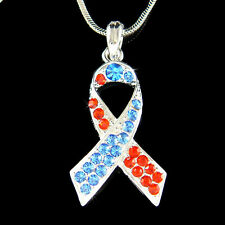w Swarovski Crystal Red BL Congenital Heart Defect CHD Awareness Ribbon Necklace