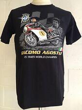 "Giacamo Agostini ""15 Times World Champion"" MV Motorcycle T-SHIRT, Black LARGE"