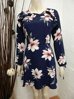 Floral Dress Size 6 Navy Blue Ladies Womens A-Line With Long Sleeves