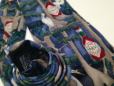 Tabasco Sauce Tie 100% Silk Made in USA Blue Red Swans Trees....FREE SHIPPING!!!
