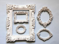 Photo Frame Set of 5 Decorative Round and Square Frames, White Patina, Classic