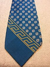 Vintage Ruth Heppel Mens Tie 4.25 X 62 Baby Blue With Gold Greek Key And White