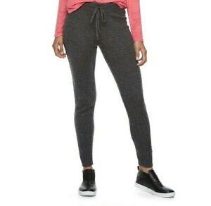 Juniors' So Perfectly Soft Sweater Legging Pants Mid-Rise Drawstring Gray XS New